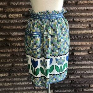 Vintage Blue Green Checkered Tulip Apron